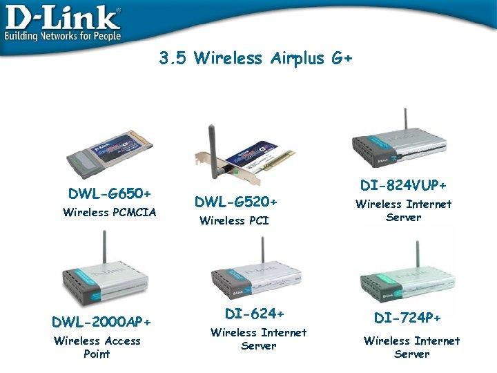 3. 5 Wireless Airplus G+ DWL-G 650+ Wireless PCMCIA DWL-2000 AP+ Wireless Access Point