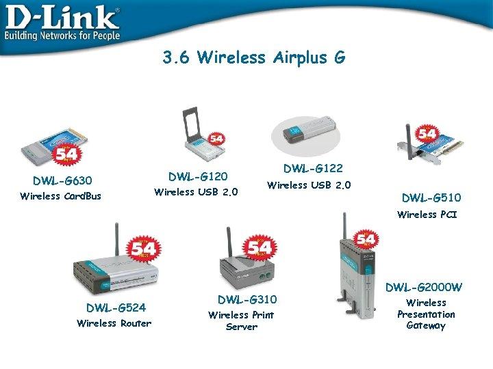 3. 6 Wireless Airplus G DWL-G 630 Wireless Card. Bus DWL-G 120 Wireless USB