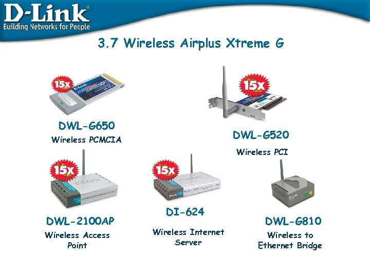 3. 7 Wireless Airplus Xtreme G DWL-G 650 DWL-G 520 Wireless PCMCIA Wireless PCI