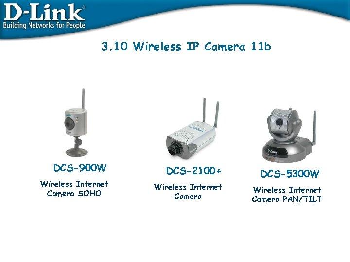 3. 10 Wireless IP Camera 11 b DCS-900 W DCS-2100+ Wireless Internet Camera SOHO