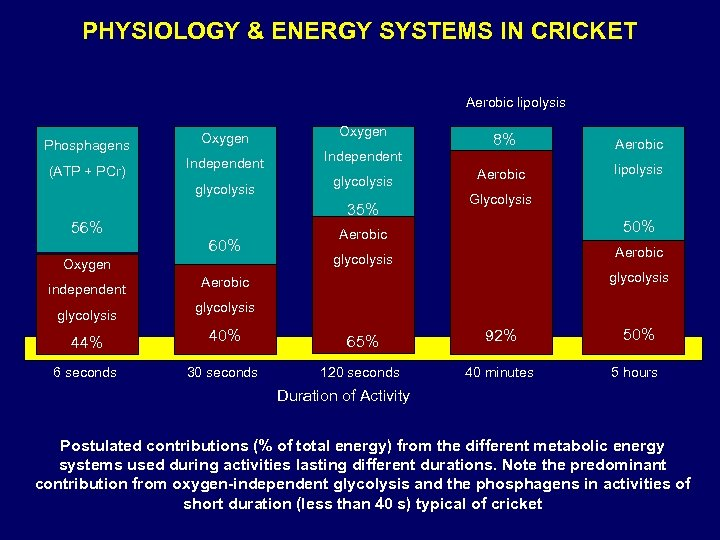PHYSIOLOGY & ENERGY SYSTEMS IN CRICKET Aerobic lipolysis Phosphagens (ATP + PCr) Oxygen Independent
