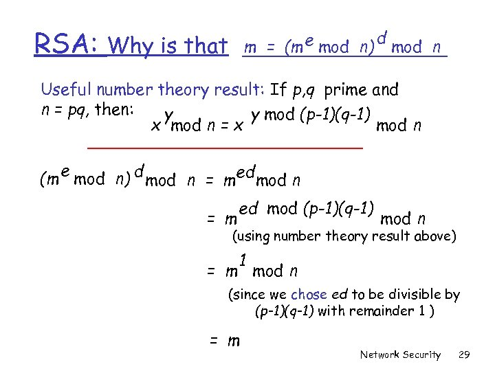 RSA: m = (m e mod n) Why is that d mod n Useful