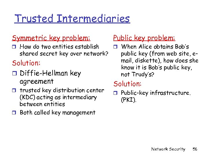Trusted Intermediaries Symmetric key problem: Public key problem: r How do two entities establish