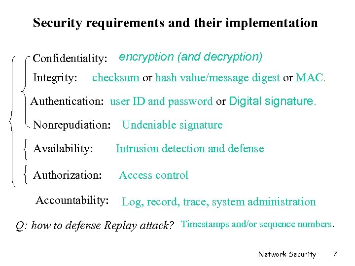 Security requirements and their implementation Confidentiality: encryption (and decryption) Integrity: checksum or hash value/message