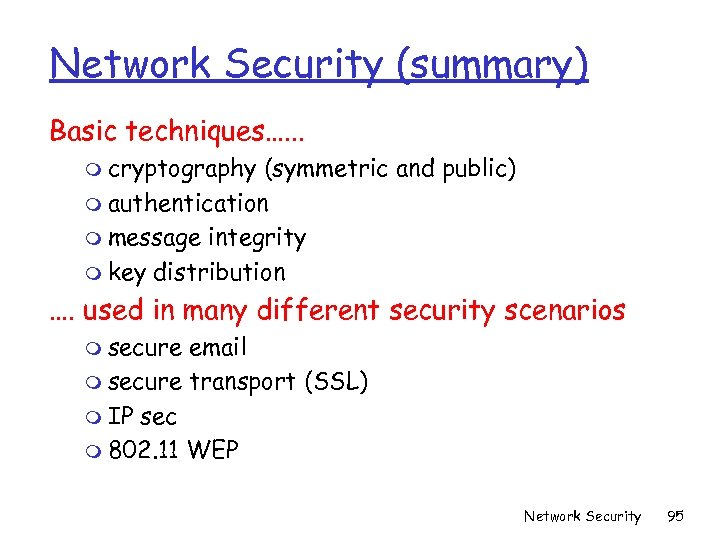 Network Security (summary) Basic techniques…. . . m cryptography (symmetric and public) m authentication