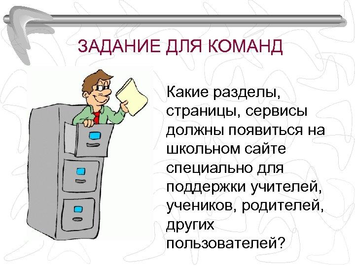 ЗАДАНИЕ ДЛЯ КОМАНД Какие разделы, страницы, сервисы должны появиться на школьном сайте специально для