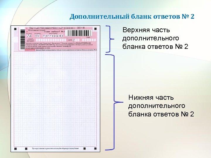 Дополнительный бланк ответов № 2 Верхняя часть дополнительного бланка ответов № 2 Нижняя часть