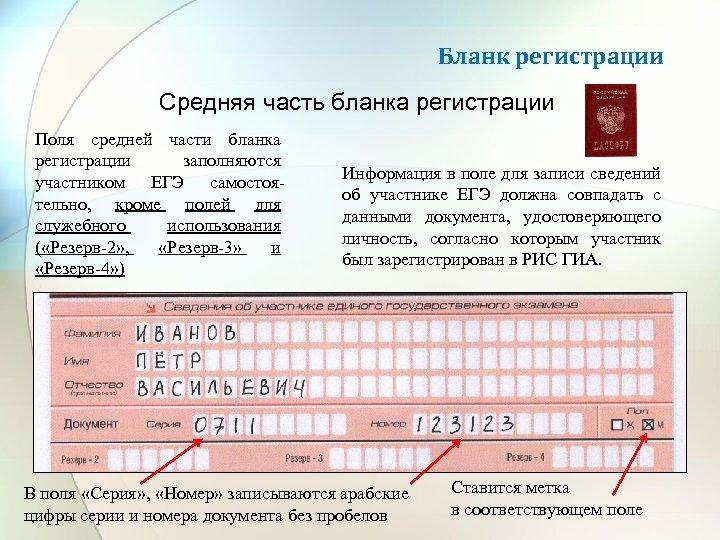 Бланк регистрации Средняя часть бланка регистрации Поля средней части бланка регистрации заполняются участником ЕГЭ