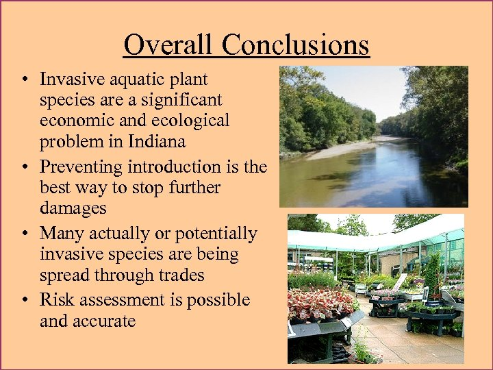 Overall Conclusions • Invasive aquatic plant species are a significant economic and ecological problem