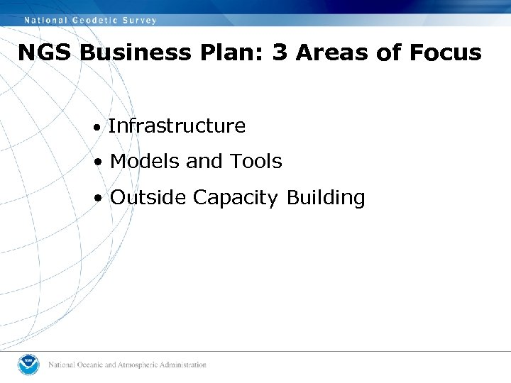 NGS Business Plan: 3 Areas of Focus • Infrastructure • Models and Tools •