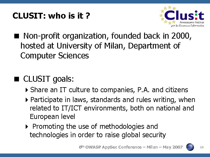 CLUSIT: who is it ? < Non-profit organization, founded back in 2000, hosted at