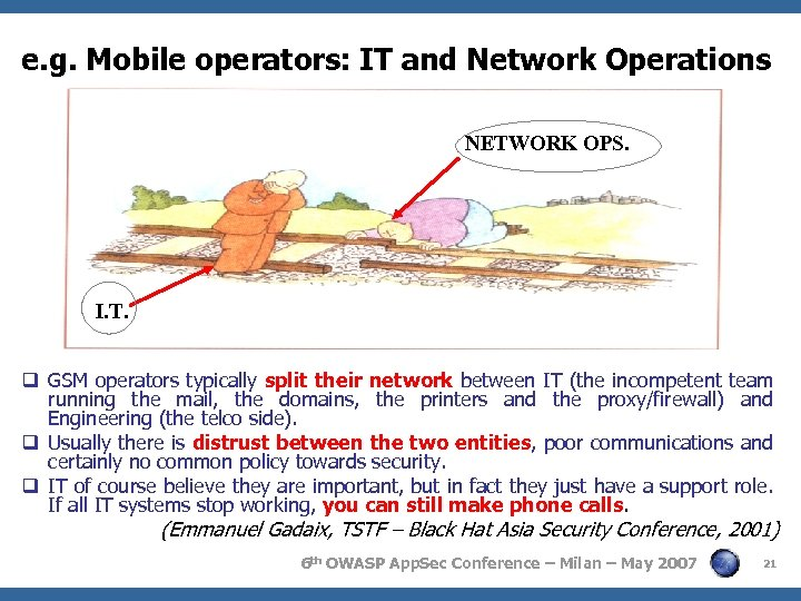 e. g. Mobile operators: IT and Network Operations NETWORK OPS. I. T. q GSM