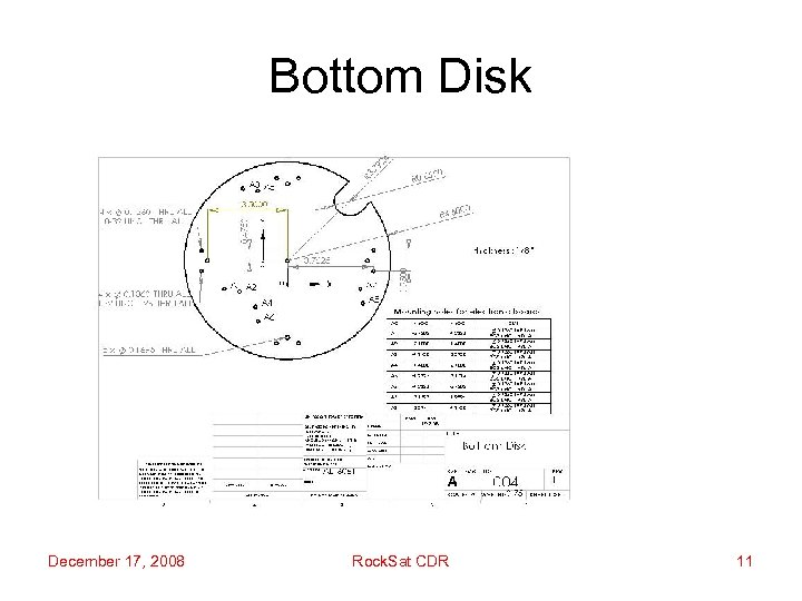 Bottom Disk December 17, 2008 Rock. Sat CDR 11