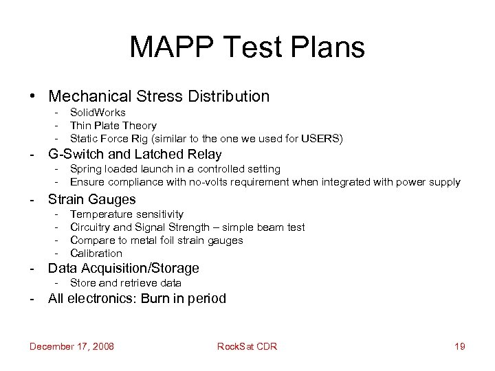 MAPP Test Plans • Mechanical Stress Distribution - Solid. Works Thin Plate Theory Static