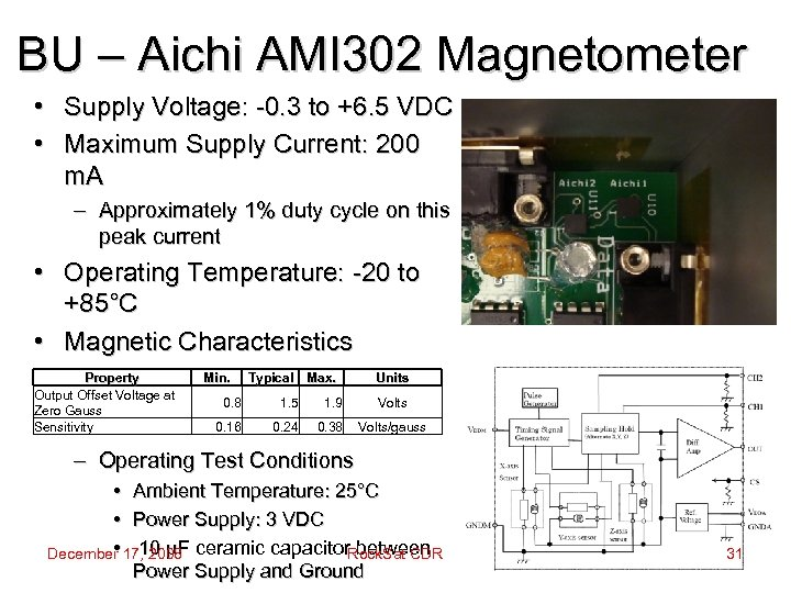 BU – Aichi AMI 302 Magnetometer • Supply Voltage: -0. 3 to +6. 5