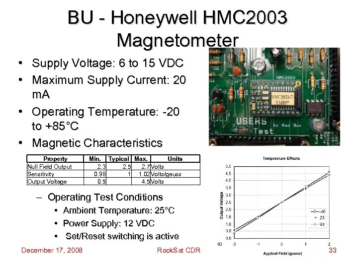 BU - Honeywell HMC 2003 Magnetometer • Supply Voltage: 6 to 15 VDC •