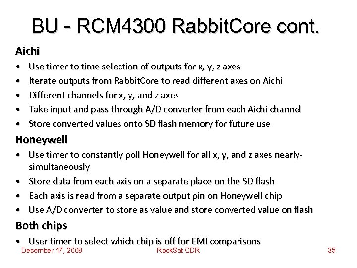 BU - RCM 4300 Rabbit. Core cont. Aichi • • • Use timer to