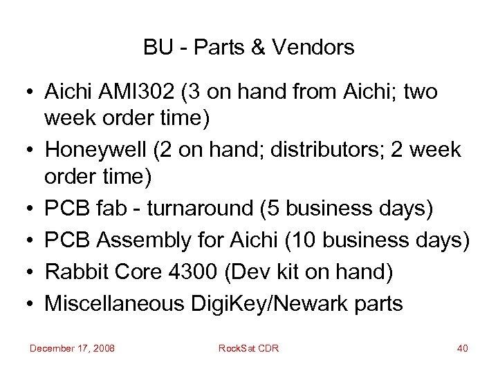 BU - Parts & Vendors • Aichi AMI 302 (3 on hand from Aichi;