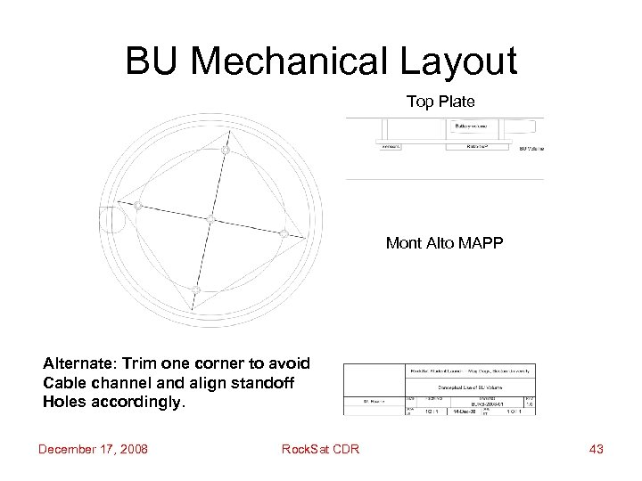 BU Mechanical Layout Top Plate Mont Alto MAPP Alternate: Trim one corner to avoid