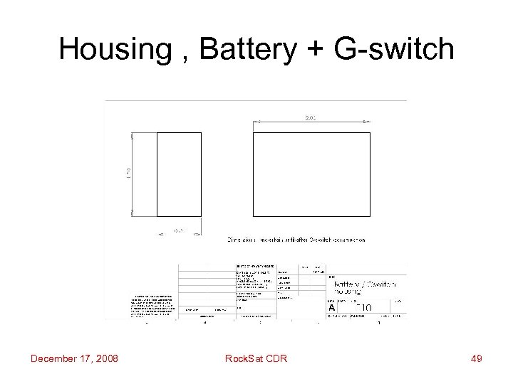 Housing , Battery + G-switch December 17, 2008 Rock. Sat CDR 49