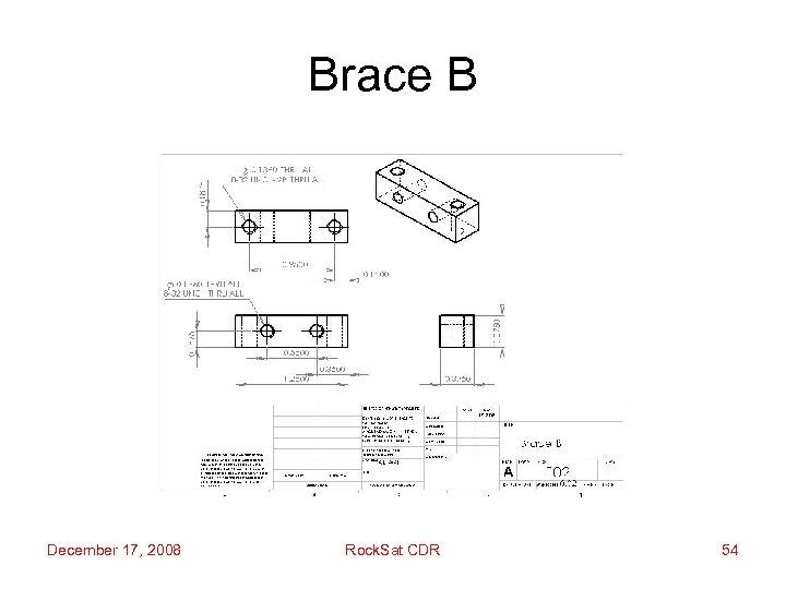 Brace B December 17, 2008 Rock. Sat CDR 54
