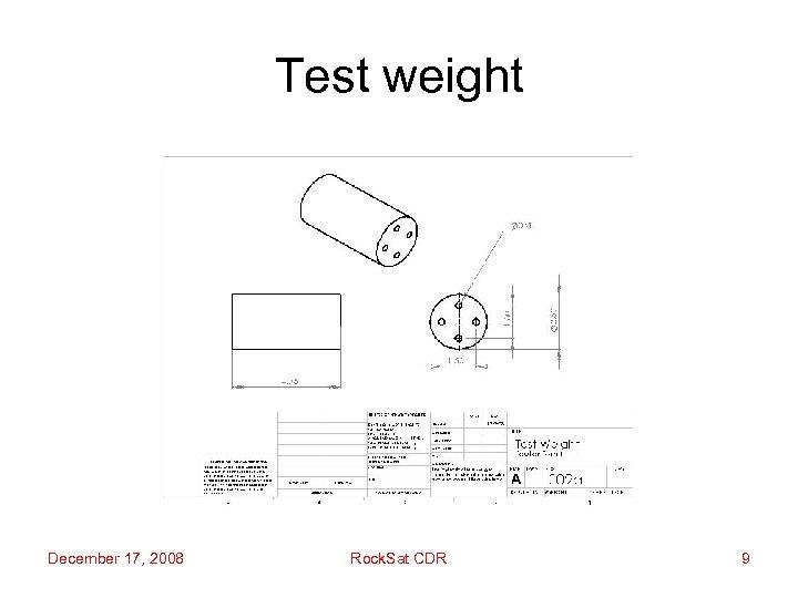 Test weight December 17, 2008 Rock. Sat CDR 9