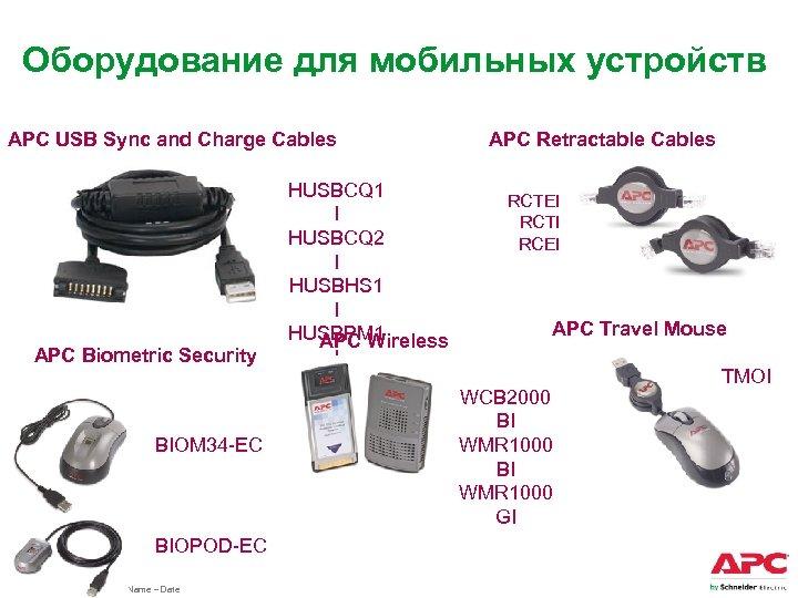 Оборудование для мобильных устройств APC USB Sync and Charge Cables APC Biometric Security BIOM