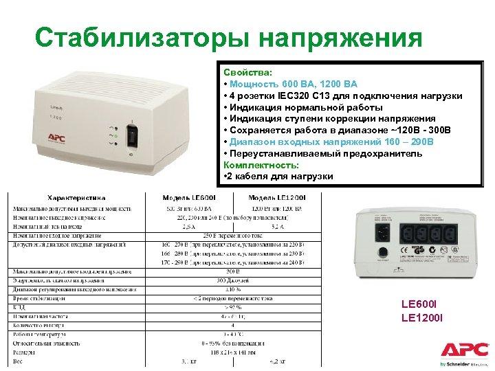 Стабилизаторы напряжения Свойства: • Мощность 600 ВА, 1200 ВА • 4 розетки IEC 320