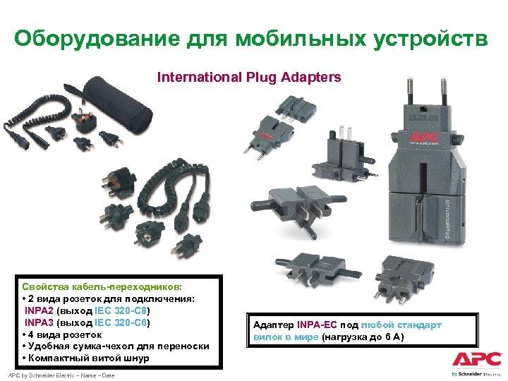 Оборудование для мобильных устройств International Plug Adapters Свойства кабель-переходников: • 2 вида розеток для