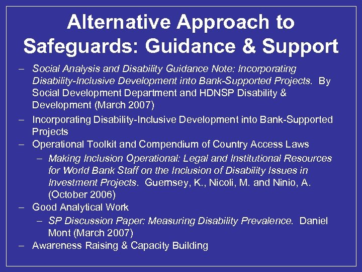 Alternative Approach to Safeguards: Guidance & Support – Social Analysis and Disability Guidance Note: