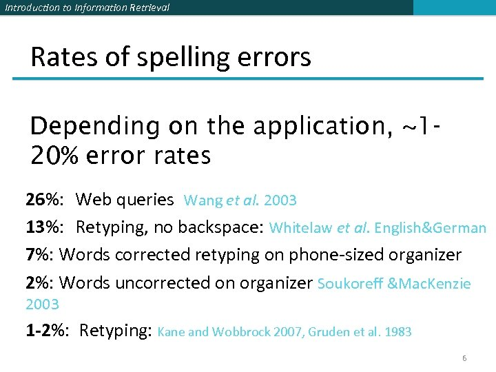 Introduction to Information Retrieval Rates of spelling errors Depending on the application, ~120% error