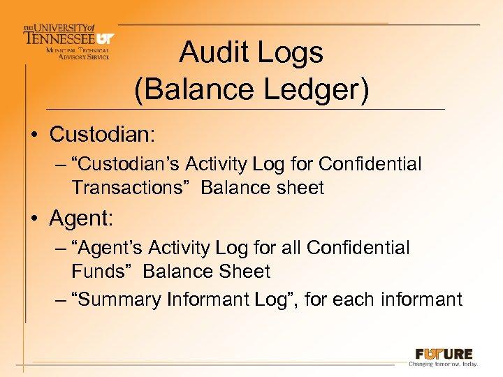 "Audit Logs (Balance Ledger) • Custodian: – ""Custodian's Activity Log for Confidential Transactions"" Balance"