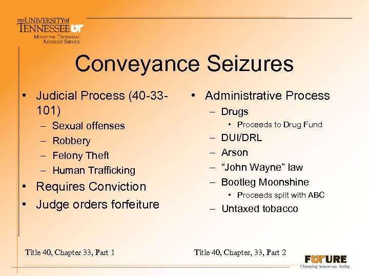 Conveyance Seizures • Judicial Process (40 -33101) – – Sexual offenses Robbery Felony Theft