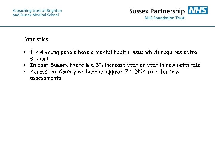 Statistics • 1 in 4 young people have a mental health issue which requires
