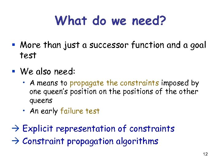 What do we need? § More than just a successor function and a goal