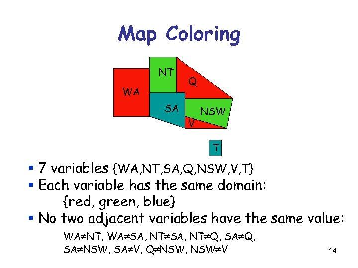 Map Coloring NT WA Q SA V NSW T § 7 variables {WA, NT,