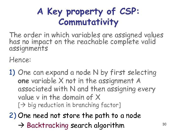 A Key property of CSP: Commutativity The order in which variables are assigned values