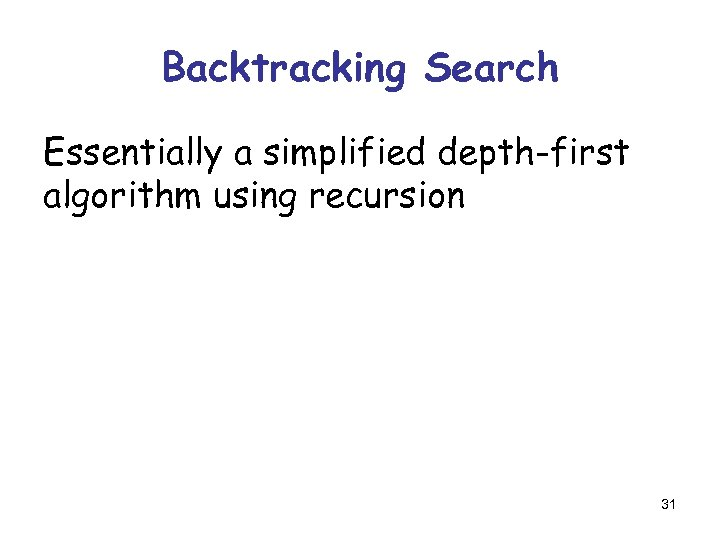 Backtracking Search Essentially a simplified depth-first algorithm using recursion 31