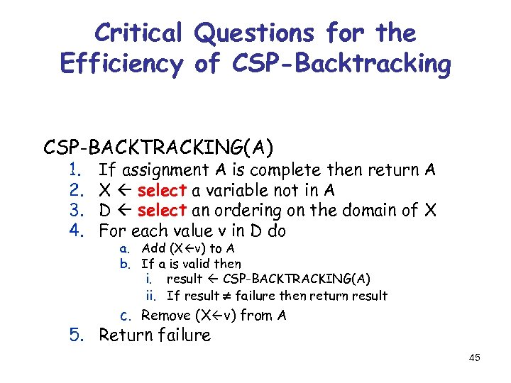 Critical Questions for the Efficiency of CSP-Backtracking CSP-BACKTRACKING(A) 1. 2. 3. 4. If assignment