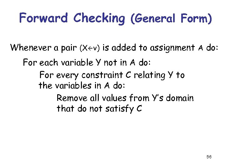 Forward Checking (General Form) Whenever a pair (X v) is added to assignment A