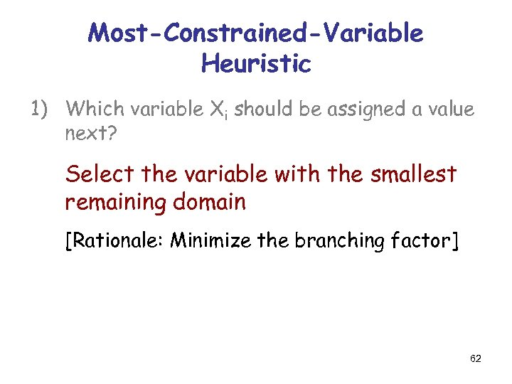 Most-Constrained-Variable Heuristic 1) Which variable Xi should be assigned a value next? Select the