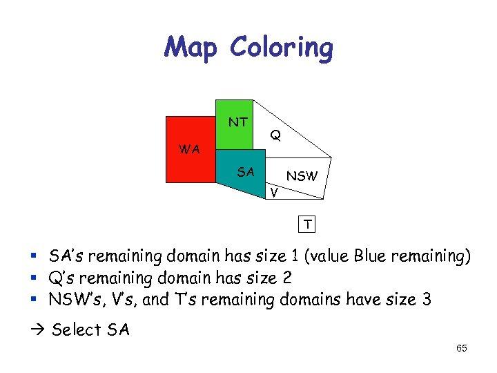 Map Coloring NT WA Q SA V NSW T § SA's remaining domain has