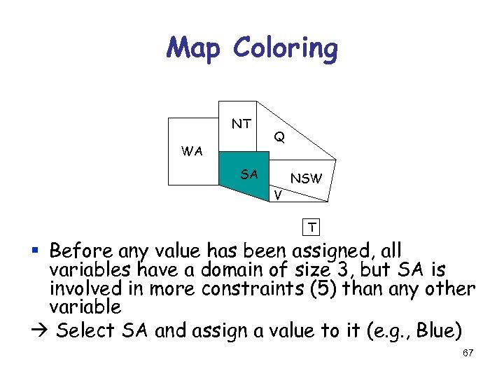 Map Coloring NT WA Q SA V NSW T § Before any value has