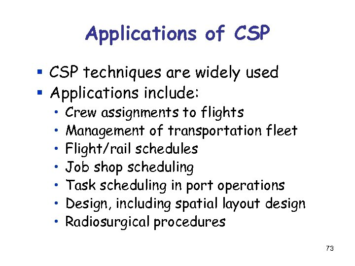 Applications of CSP § CSP techniques are widely used § Applications include: • •