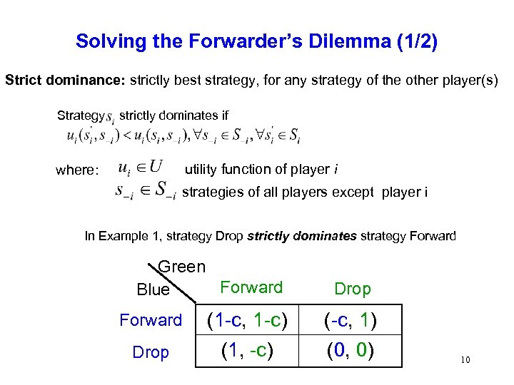 Solving the Forwarder's Dilemma (1/2) Strict dominance: strictly best strategy, for any strategy of