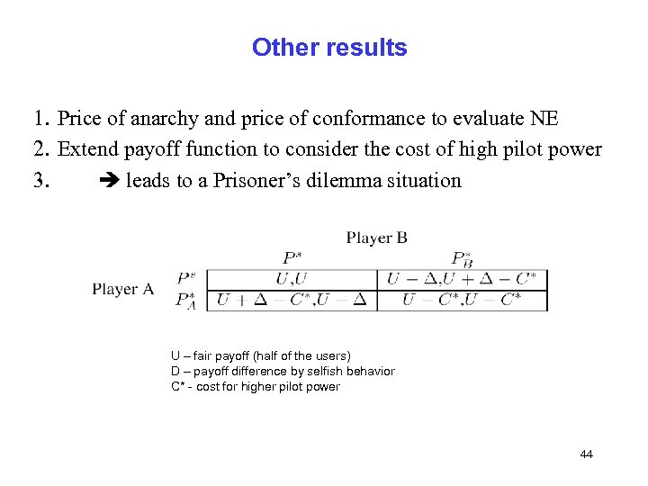 Other results 1. Price of anarchy and price of conformance to evaluate NE 2.