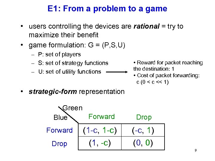 E 1: From a problem to a game • users controlling the devices are
