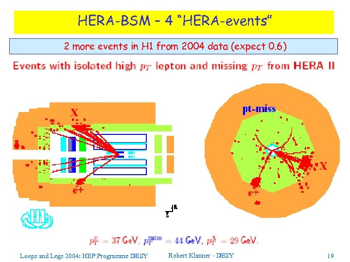 """HERA-BSM – 4 """"HERA-events"""" 2 more events in H 1 from 2004 data (expect"""