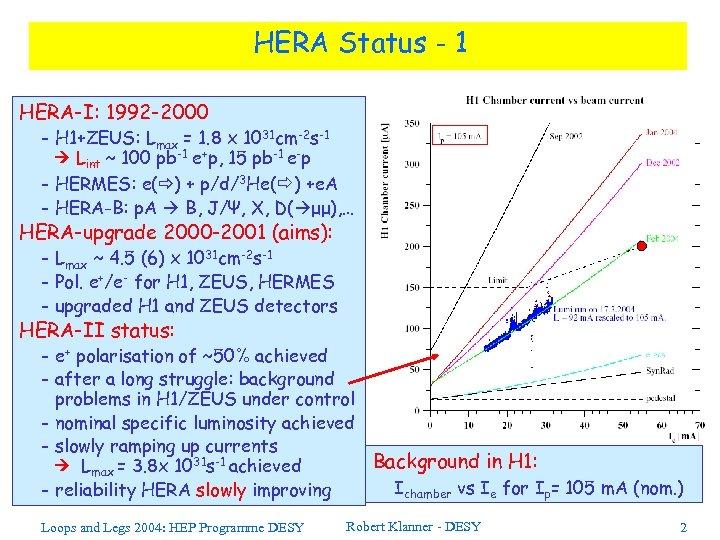HERA Status - 1 HERA-I: 1992 -2000 - H 1+ZEUS: Lmax = 1. 8