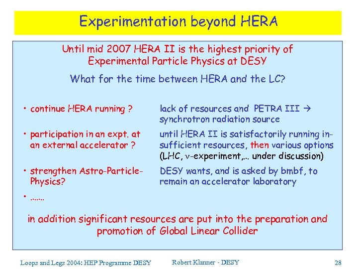 Experimentation beyond HERA Until mid 2007 HERA II is the highest priority of Experimental
